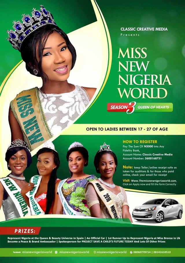 MISS NEW NIGERIA WORLD 2017 Artwork | AceWorldTeam.com