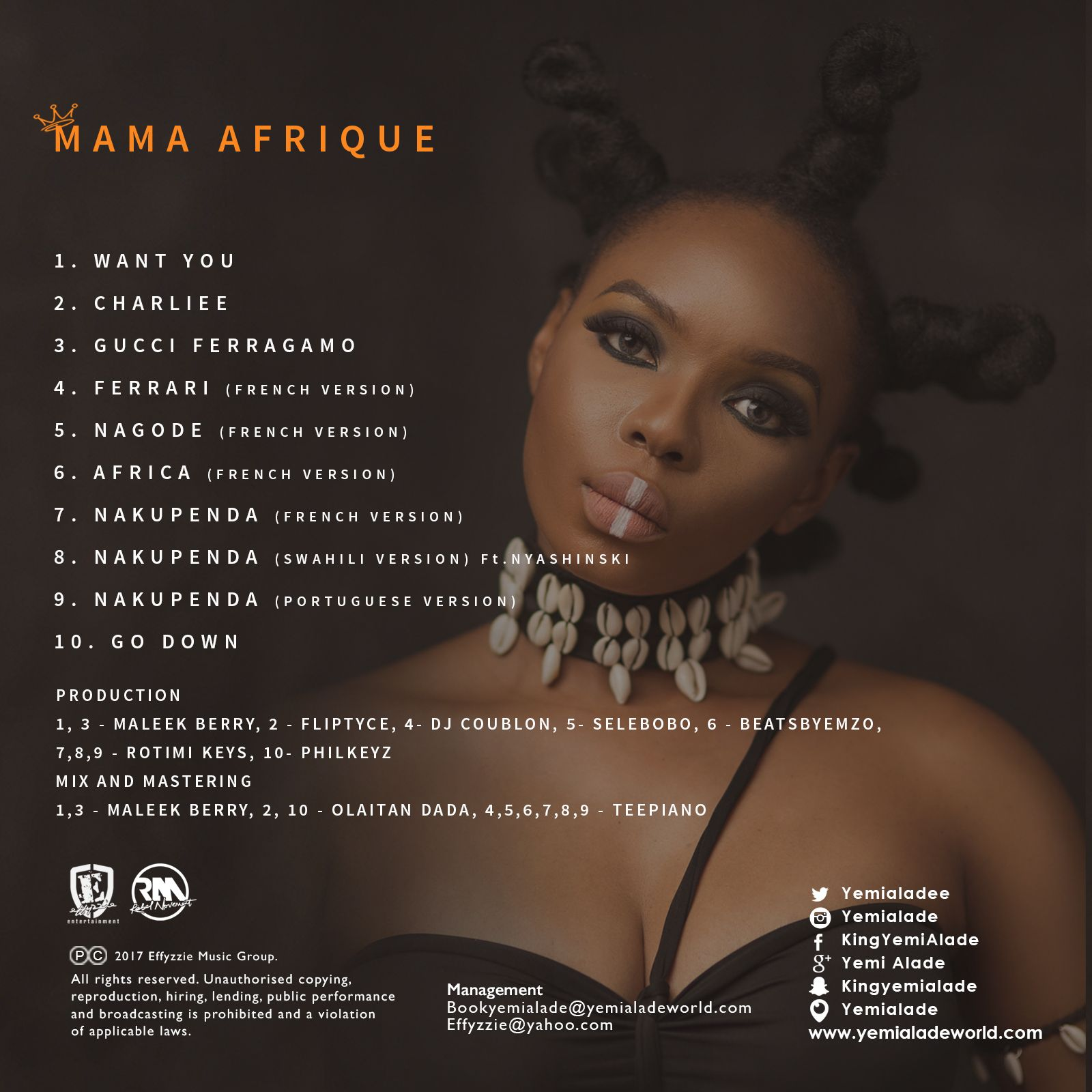 Yemi Alade - MAMA AFRIQUE (Back Artwork) | AceWorldTeam.com