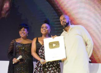 Yemi Alade Receiving the Golden Play Button from Youtube | AceWorldTeam.com