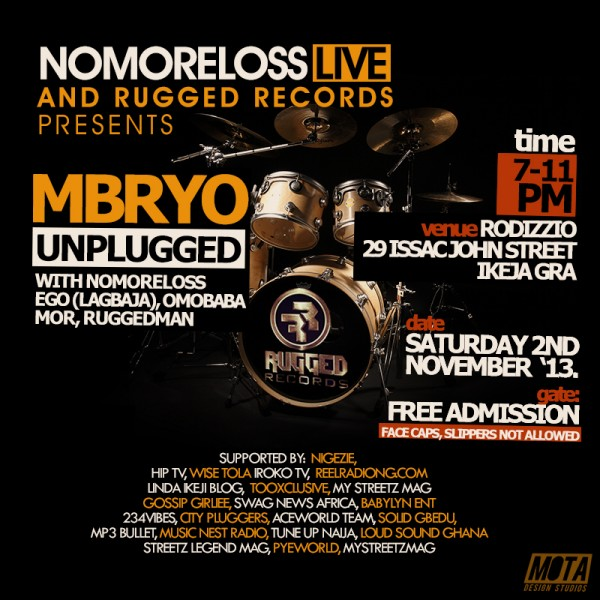 Rugged Records' Mbryo Goes Live Again, November 2nd 2013 Artwork